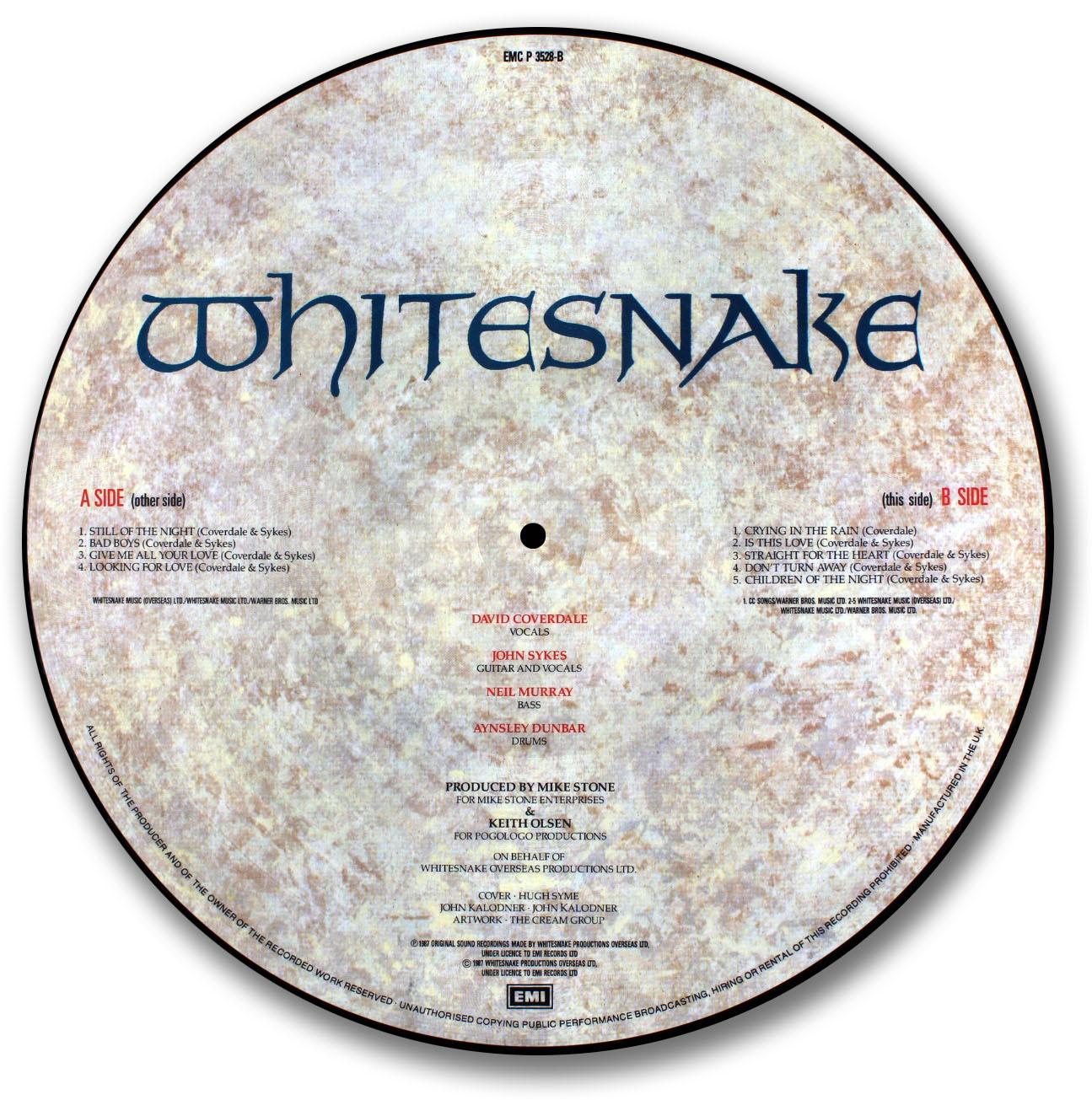 Whitesnake, 1987 Picture Disc