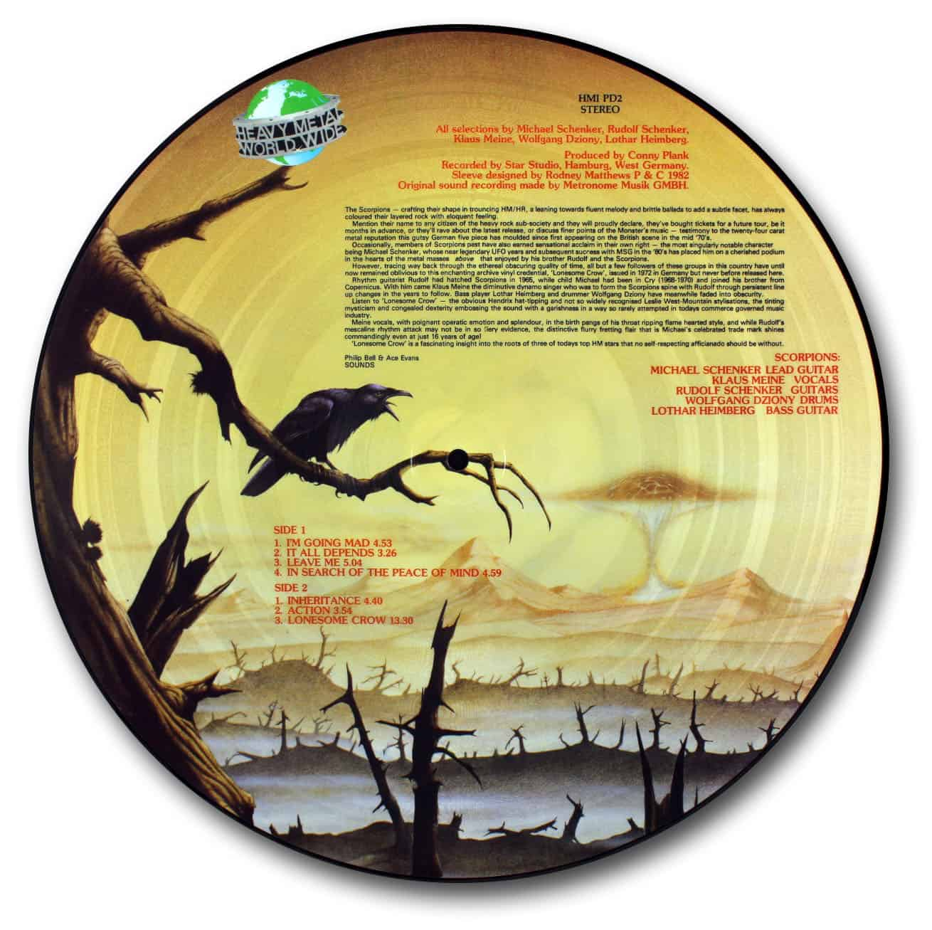 scorpions, lonesome crow picture disc